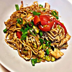 Egg noodles with chicken and vegetables teriyaki sauce